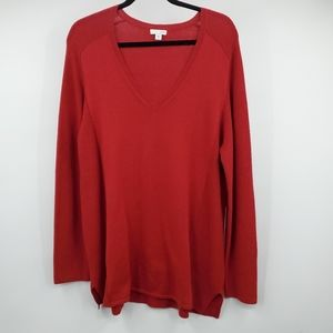 J Jill Red Ribbed Knit Pullover Sweater XL